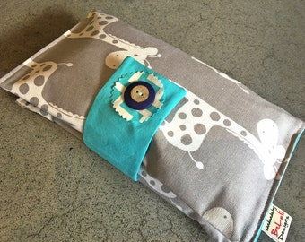 Baby or toddler funky nappy/diaper wallet. Gorgeous Giraffe fabric. Custom made to create a unique item for you & your baby. Made to Order.