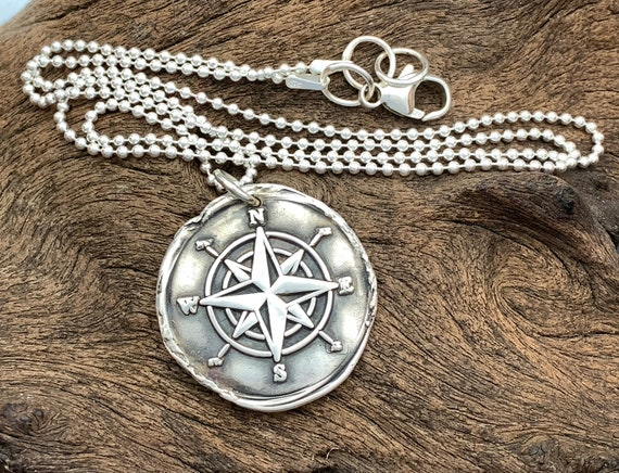 Collier pendentif en forme de boussole avec carte du monde en argent sterling S925/sur cha/îne de 46/cm