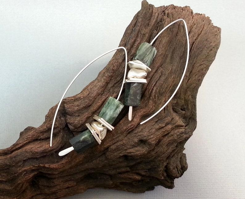 handmade gifts for her Seraphinite Green ThreaderWishbone Earrings in silver