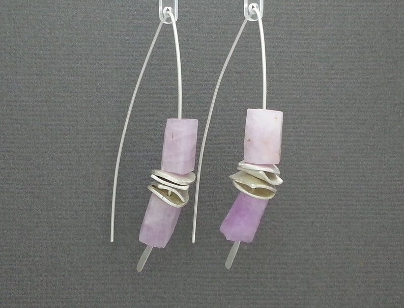 gifts for her Raw Lilac Kunzite Threader Earrings in a sterling silver handcrafted stacking style