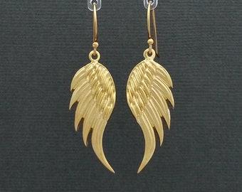 Angel Wing earrings in Yellow Gold Vermeil