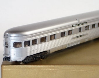 "Vintage N Scale Trains, ATLAS Trains, Railroad Toy Trains, Pennsylvania Central, ""Genesse River"", Observation Train, Passenger Coach Car"