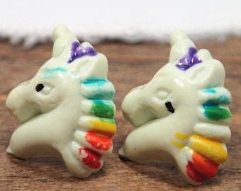 Pierced Earrings, Unicorn Studs, Unicorn Gifts, 1980's Studs, Plastic Studs, 1980's Fashion, Rainbow Earrings, Rainbow Studs, Magical Girl