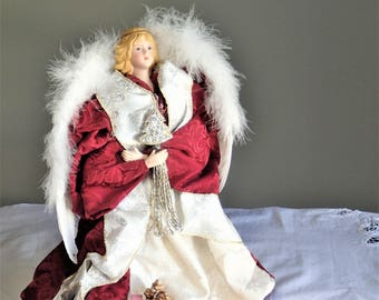Ceramic Angel, Christmas Tree Topper, Handmade, Christmas Angel Tree Topper, Table Angel Decor, Vintage Xmas Tree Toppers, Porcelain Angel