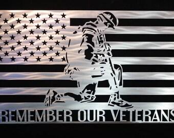 Veterans Flag American Flag Remember our Veterans Flag Patriotic Metal Art Patriotic Wall Art Military Decor Metal Wall Art & Metal american flag wall art | Etsy