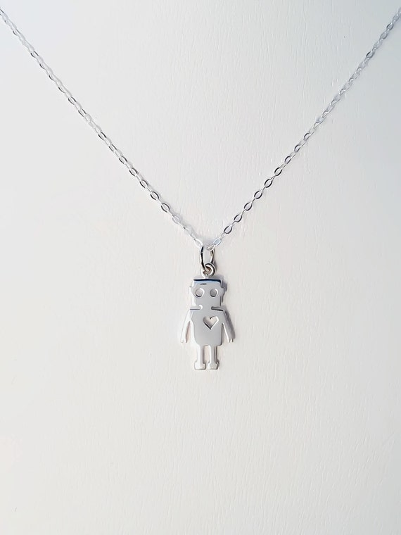 925 Sterling Silver Tiny Robot Necklace Love Heart Pendant Sci-Fi Future NEW