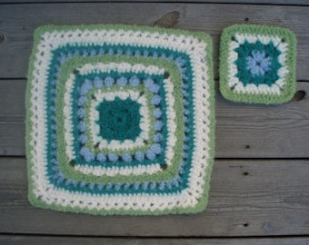 Placemat and coaster set, crocheted and felted wool (1538,1539)