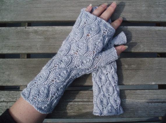 mohair blend Hand knitted wrist warmers//fingerless gloves soft yellow
