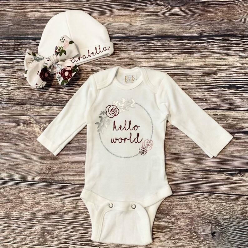 Newborn Custom Set onesie and beanieboho baby
