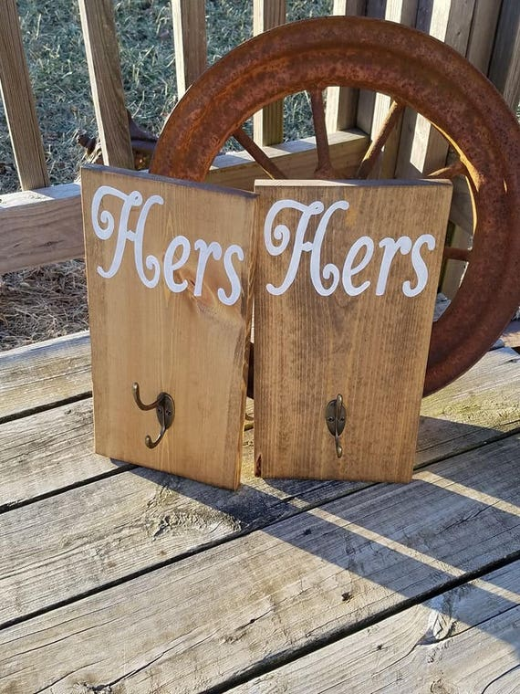 Wood Wooden Sign Stained Rustic Two Hook Hanger Wedding Gift Bridal Shower Bath Room Shower His And Hers Bathroom Towel Robe Hooks Talkingbread Co Il