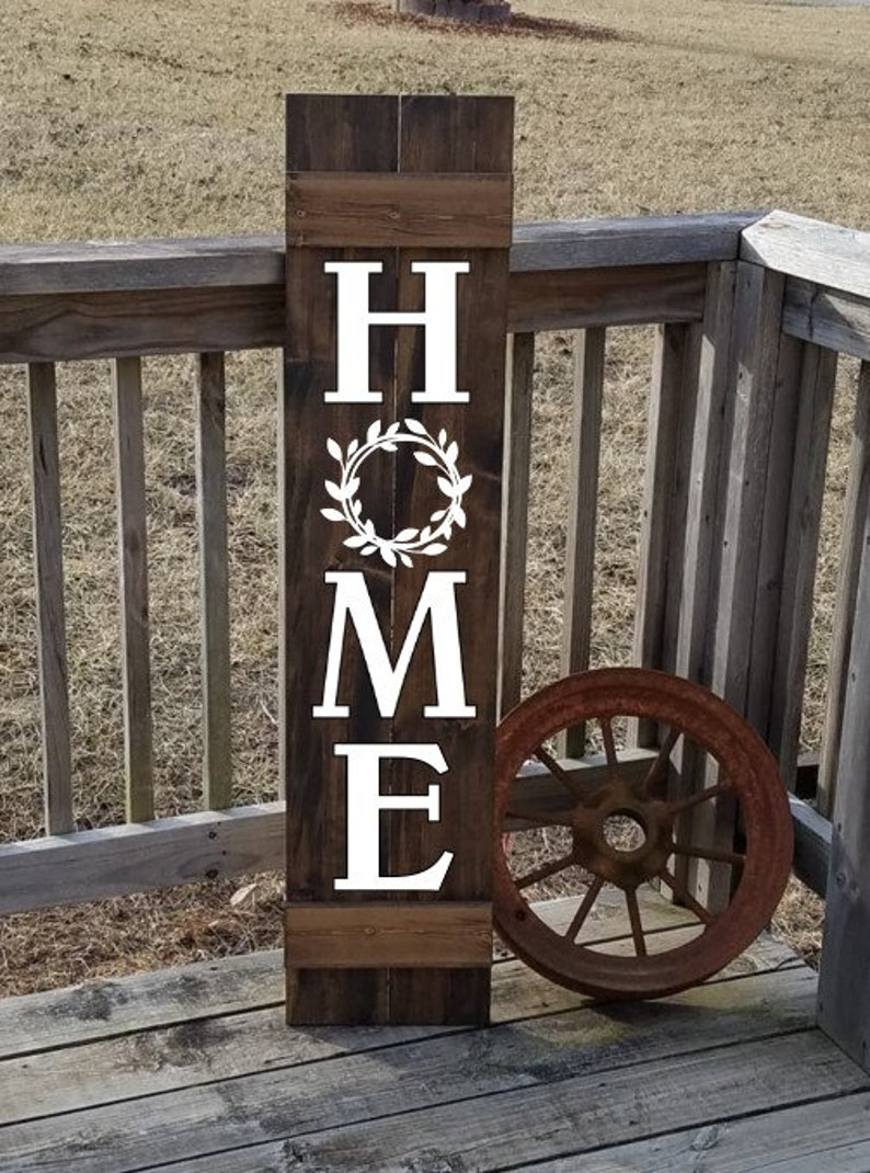 Home Sign Wooden Shutter Home With Wreath Wood Sign Front Door Sign Family Sign Home Art Gift For Family