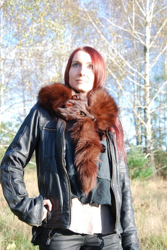 scarf wrap coat Real Red Fox Fur Stole so luxurious shawl