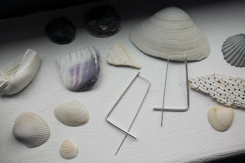 Minimalist threader earrings Rectangle hoop earrings Double sided earrings sterling silver bar Threader,Square simple wire hoops