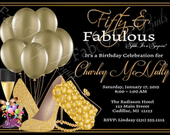 Womens 50th Birthday Invitation O Adult Party Elegant Gold Fifty Fabulous Invite 1134