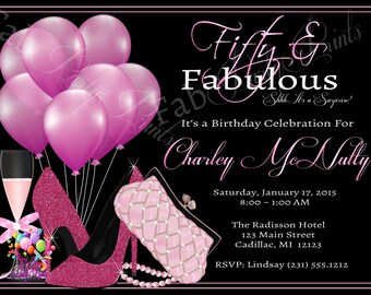 Womens 50th Birthday Invitation O Adult Party For Ladies Elegant Pink Any Age