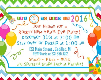 new years party invitation 2015 party invitation kids party printable