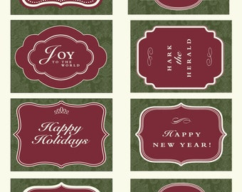 printable holiday gift tags instant download green damask