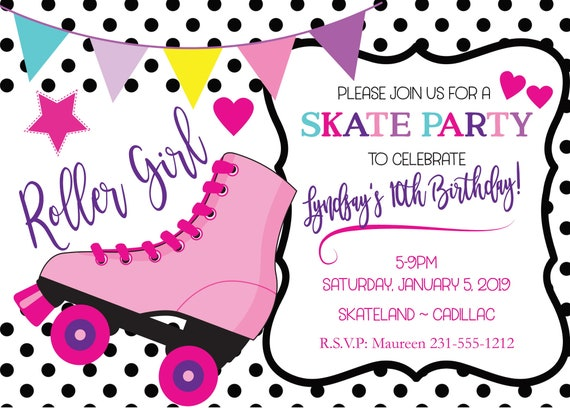 Roller Skate Invitation O Skating Birthday For