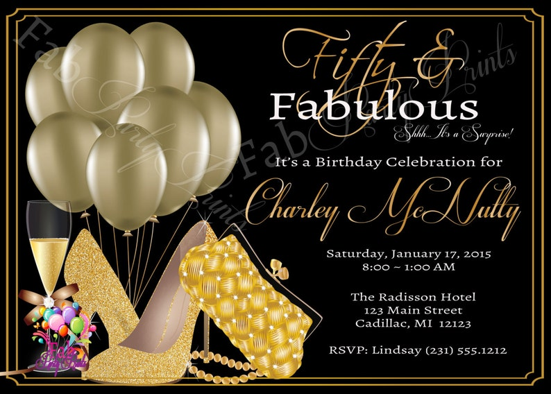 Womens 50th Birthday Invitation Adult