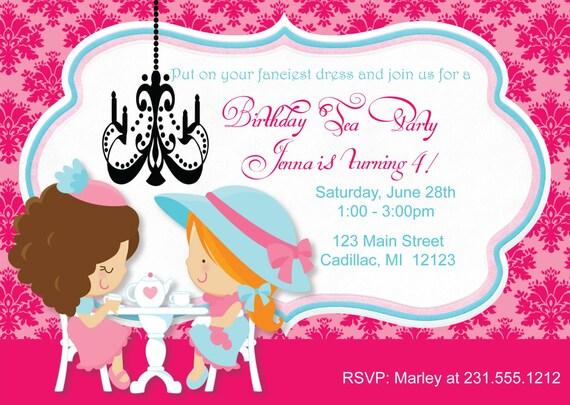 little girl s tea party invitation tea party birthday invitation