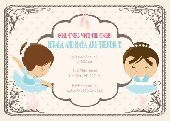 twins birthday invitation twin ballerina s birthday party