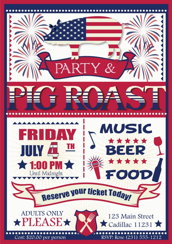 pig roast party invitation 4th of july holiday invitation etsy