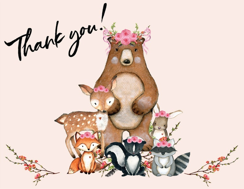 DIY INSTANT DOWNLOAD Made to Match Girl/'s Woodland Baby Shower Invitation 1160 Thank You Card