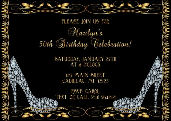 Diamond Shoes Adult Birthday Invitation Party Invite