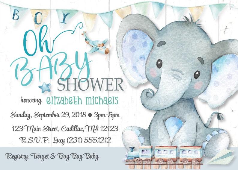 Elephant Baby Shower Invitations Boy Elephant Baby Shower Etsy