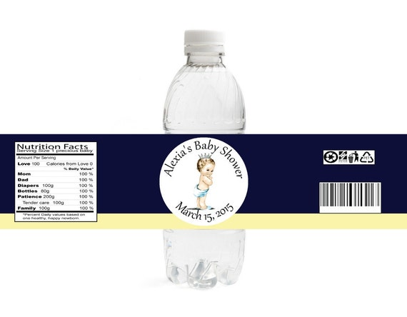 Baby Shower Water Bottle Labels • Prince Baby Shower Labels
