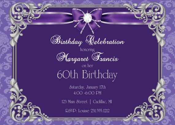 60th Birthday Invitation O Party Womens Elegant