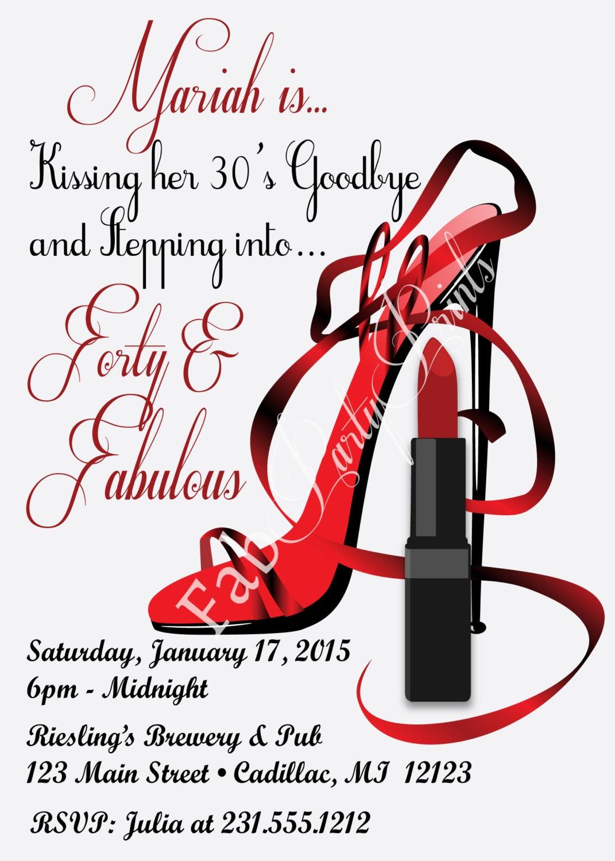 Red Hot Forty & Fabulous Birthday Invitation Women\'s | Etsy