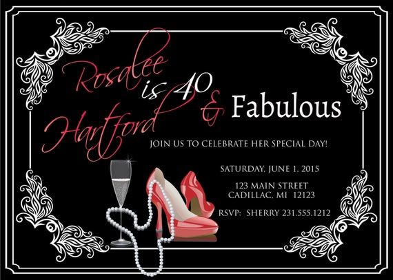 Ladies 40th Birthday Invitation Adult Forty Fabulous Red Shoes