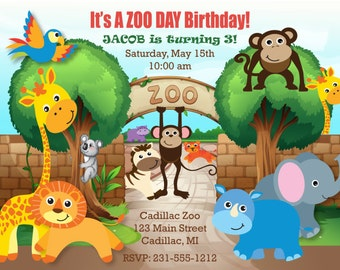 Printable Safari Zoo Birthday Invitation - Zoo Invitation - Kids Party Invite by FabPartyPrints