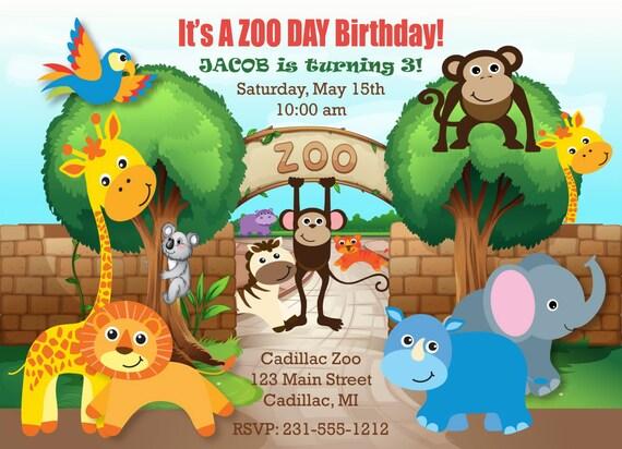 Printable Safari Zoo Birthday Invitation