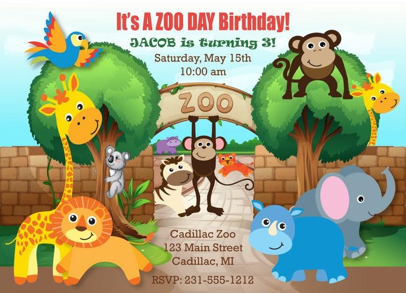 Printable Safari Zoo Birthday Invitation Zoo Invitation Etsy