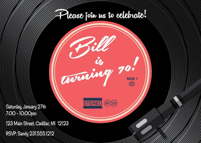 Retro 70th Birthday Invitation O Adult Party 1950s 60s 70s Or 80s Theme
