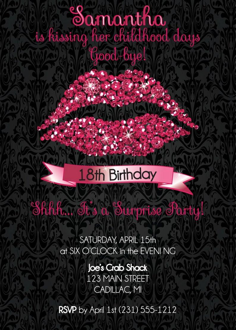 Pink Glitter Lips Custom Birthday Invitation 18th