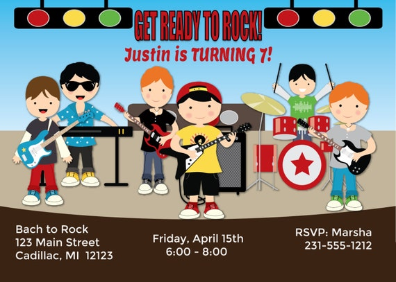 Boys Rock N Roll Invitation Birthday Kids
