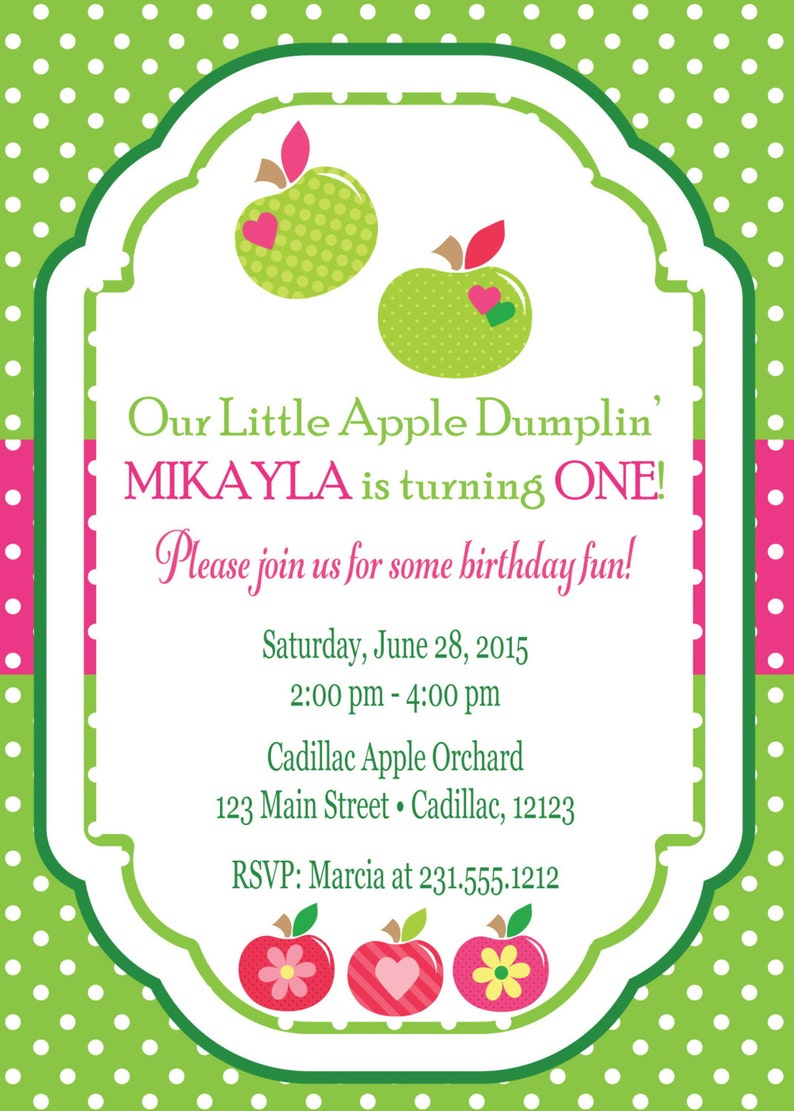 First Birthday Invitation Apple Dumpling