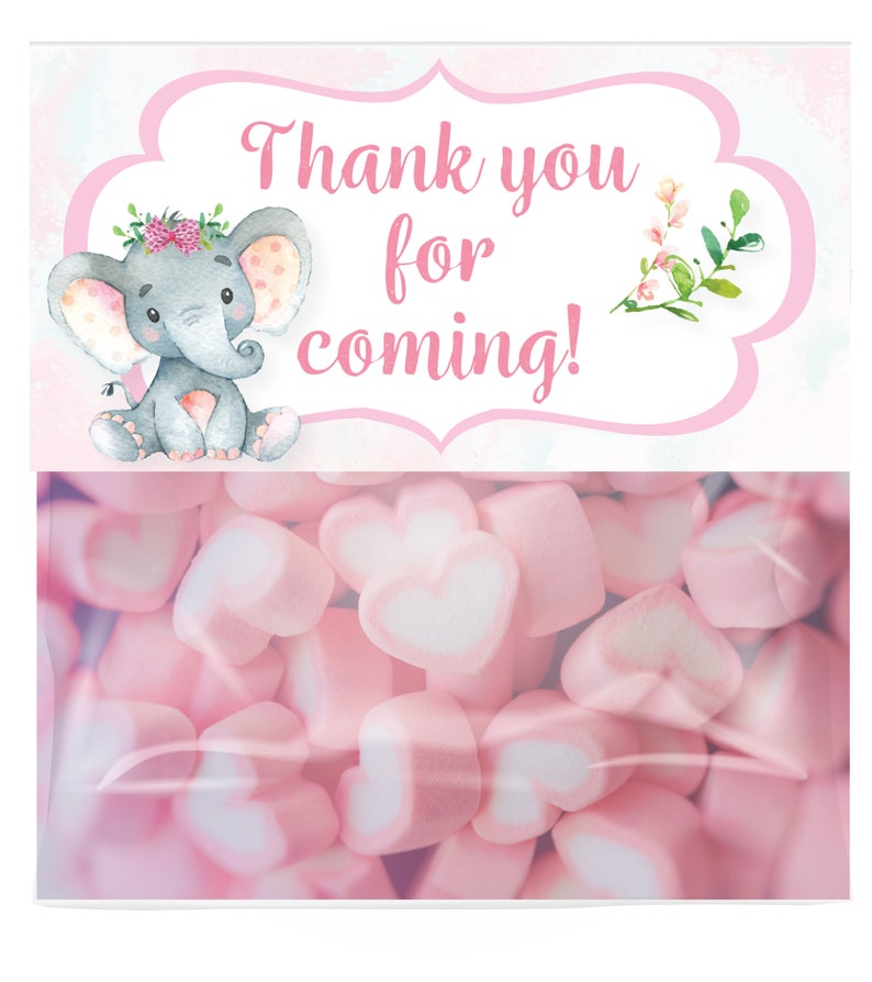 Jungle Baby Girl Elephant Candy Bag Toppers Personalized Baby Shower Party Favor Bags Printed 1112 Elephant Treat Bag Toppers