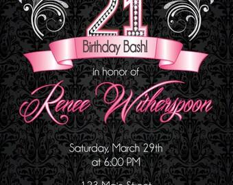 21st Birthday Invitation, 21st Birthday Party Invitation - Silver Ornate Party Invite