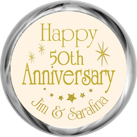 GOLDEN WEDDING ANNIVERSARY GLOSS CHAMPAGNE  PERSONALISED STICKERS ANY TEXT