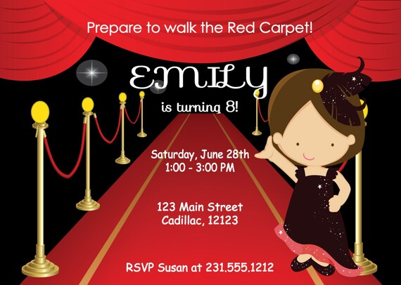Kids Birthday Invitation Girls Red Carpet Party