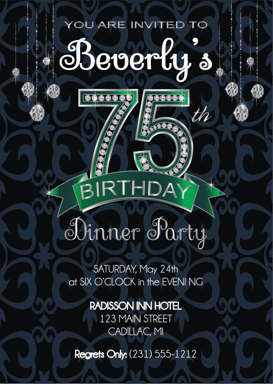 75th Birthday Invitation Adult Birthday Party Invitation Etsy