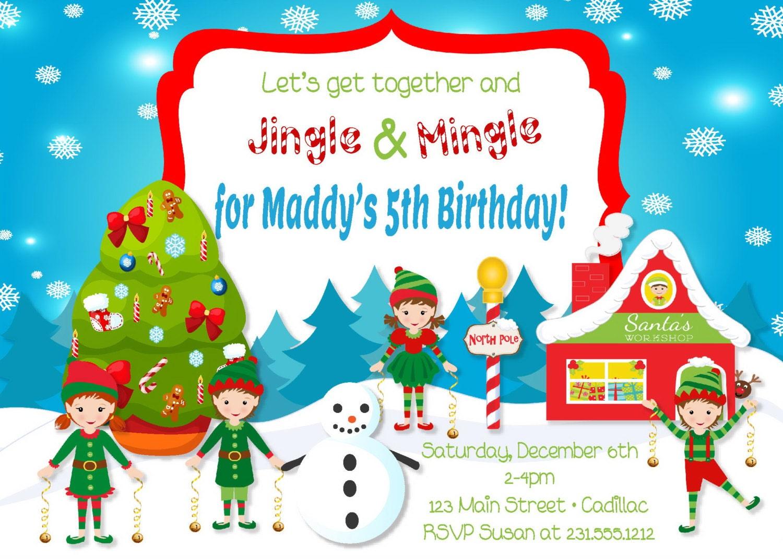 Kids Christmas Party Invitations Jingle & Mingle Kids | Etsy