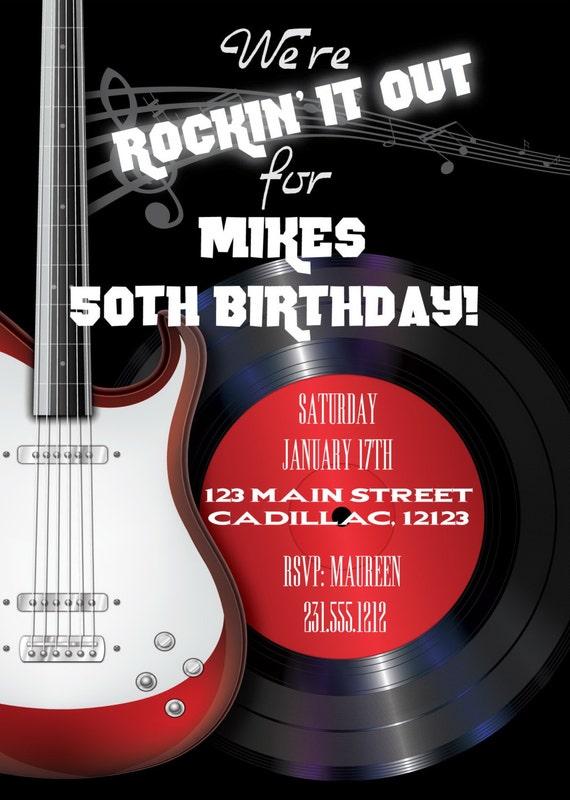 Rock N Roll Manner Geburtstag Einladungen Rockin 50 Etsy