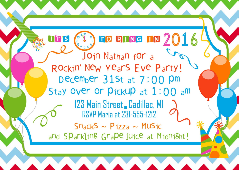 new year's party invitation 2015 party invitation kids  etsy