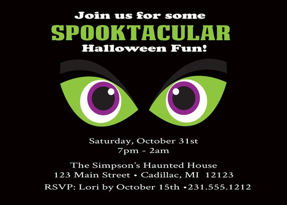 Spooky Eyes Halloween Invitation Spooktacular Halloween