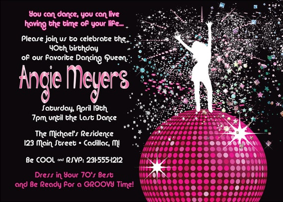 Women's Birthday Party Invitation Disco Dancing Queen 70 ...
